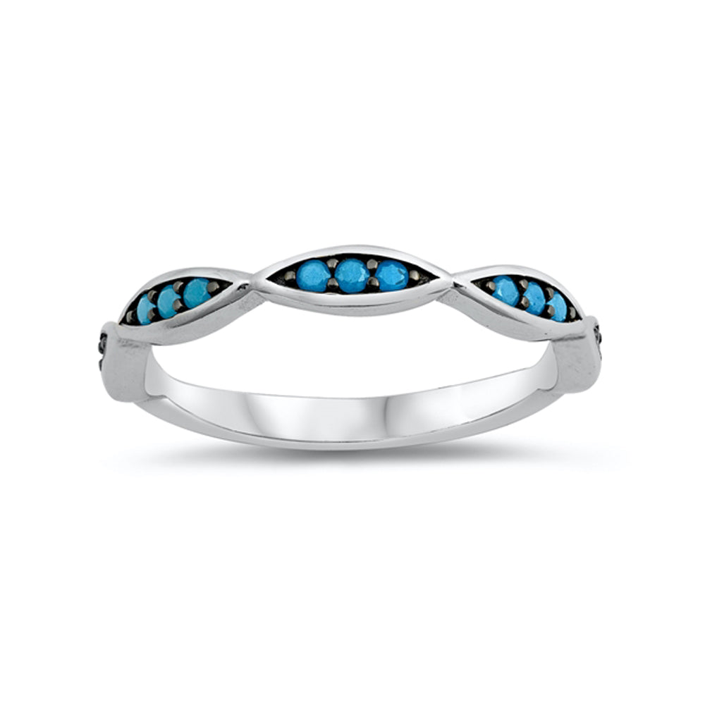.925 Sterling Silver Simulated Turquoise Marquise Design Stackable Ring