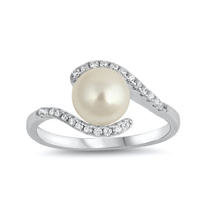 .925 Sterling Silver Simulated Pearl Cubic Zirconia Winding Ring