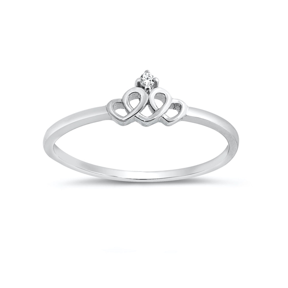 .925 Sterling Silver Cubic Zirconia Loop of Hearts Stackable Ring