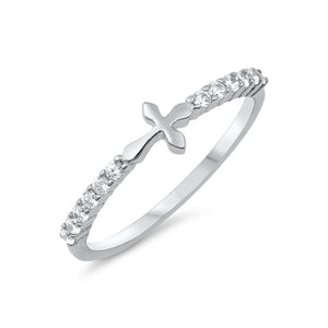 .925 Sterling Silver Small Sideway Cross Cubic Zirconia Stackable Ring