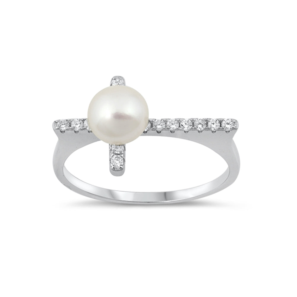 .925 Sterling Silver Simulated Pearl Sideway Cross Cubic Zirconia Ring