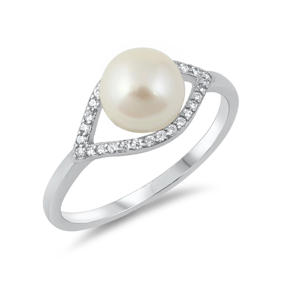 .925 Sterling Silver Simulated Pearl Cubic Zirconia Accent Ring