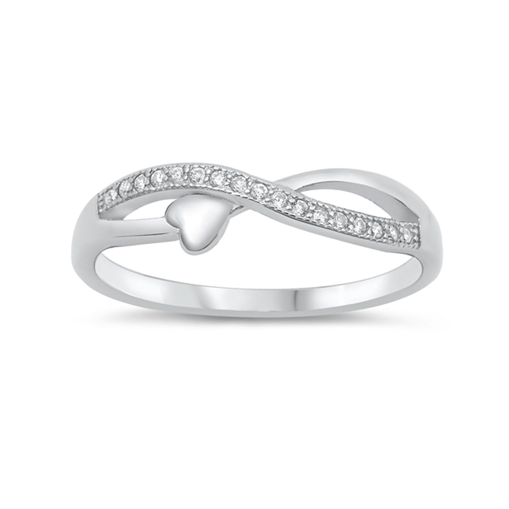 .925 Sterling Silver Crossover Cubic Zirconia Petite Heart Ring