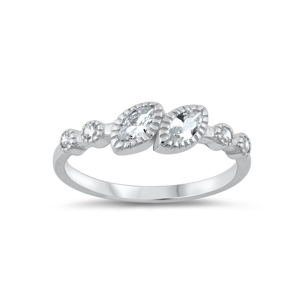 .925 Sterling Silver Marquise & Round Cubic Zirconia Stackable Ring