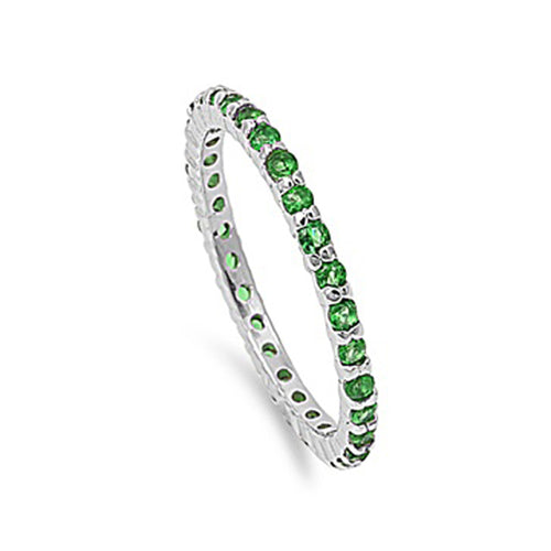 .925 Sterling Silver 2mm May Birthstone Cubic Zirconia Eternity Stackable Ring