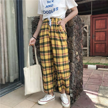 Load image into Gallery viewer, Summer Yellow Plaid High Waist Pants