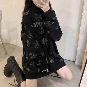 Gothic Butterfly Bear Print Fashion Sweatshirt