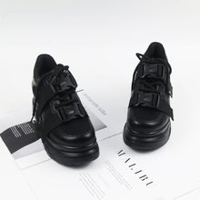 Load image into Gallery viewer, Black Platform Chunky Sneakers