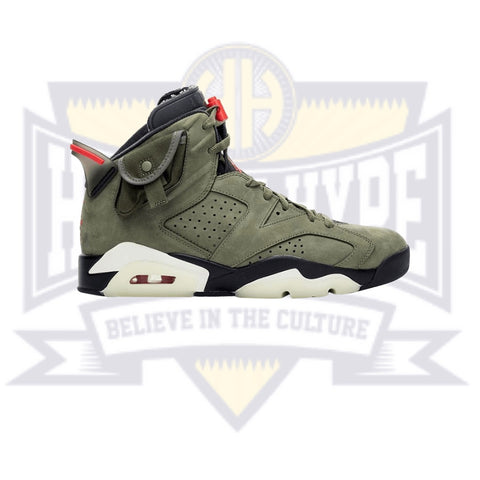 Travis Scott x Air Jordan 6 Retro 'Medium Olive' GS - Hall Of Hype