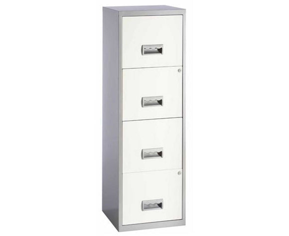 Pierre Henry 4 Drawer Maxi Tall Filing Cabinet   Silver/White