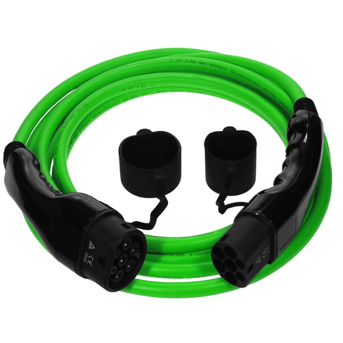 EV and PHEV Type 2 Charging Cable | Up to 50 meters.  Green cable with black ends on a white background.