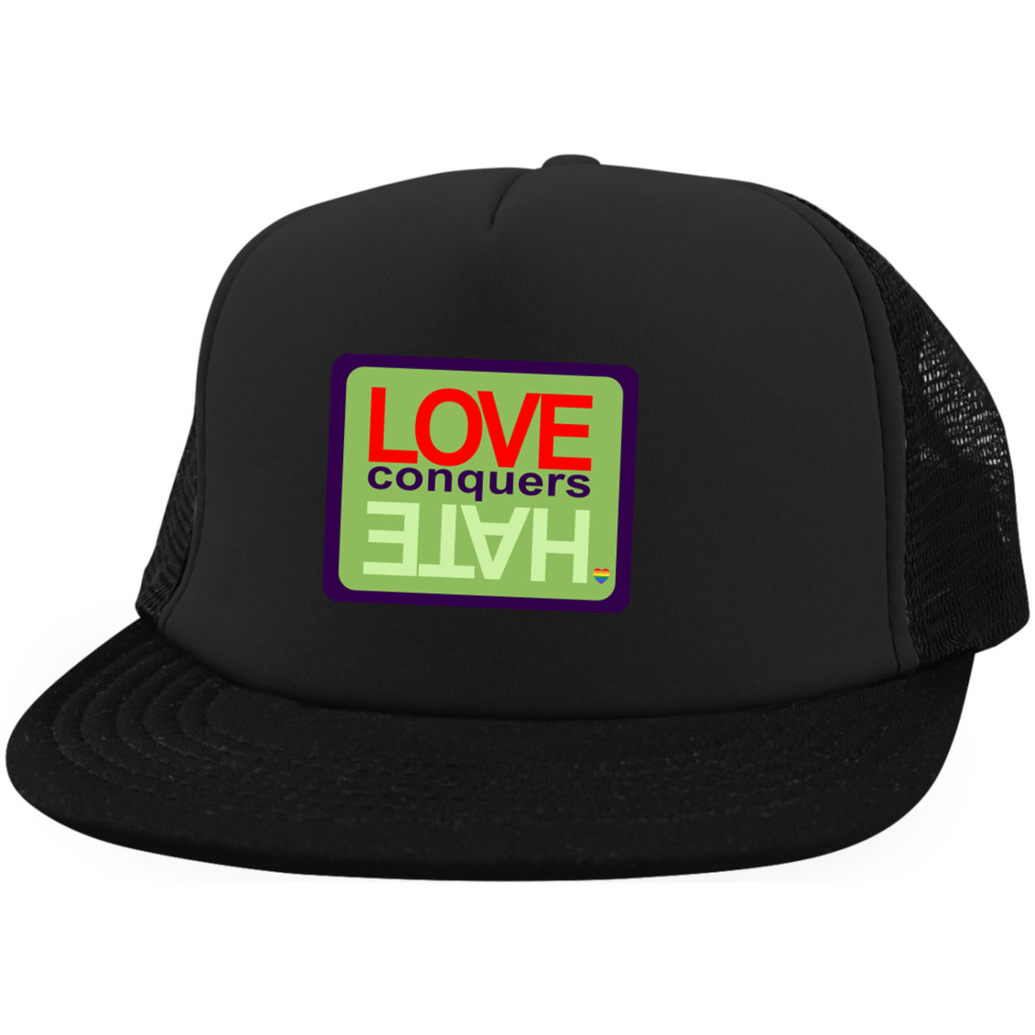 Love Conquers Hate District Trucker Hat with Snapback