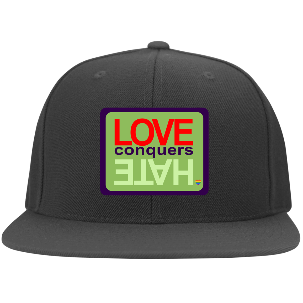 Love Conquers Hate upoong Flat Bill Twill Flexfit Cap