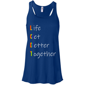 Life Gets Better Together LGBT Bella + Canvas Flowy Racerback Tank