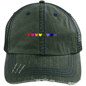 Rainbow Hearts Distressed Unstructured Trucker Cap
