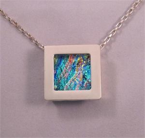 "Gallery Pendant Silver 1"" Square, Single"