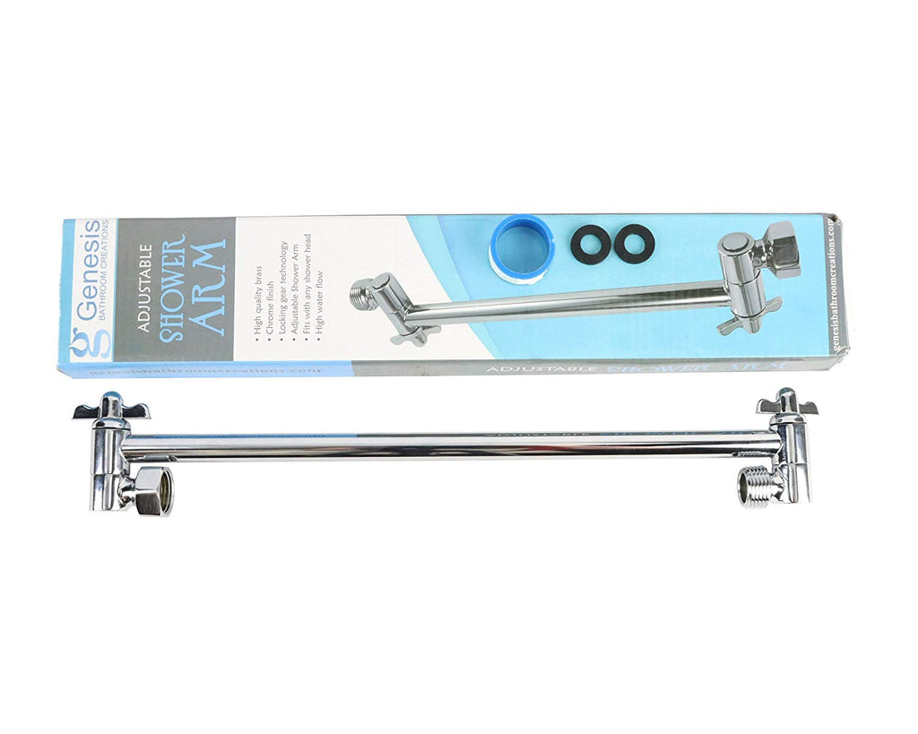 Locking Shower Head Extension Arm Fully Adjustable Brass Extender Arm Locking Gears Hold Rainfall Shower Head In Place