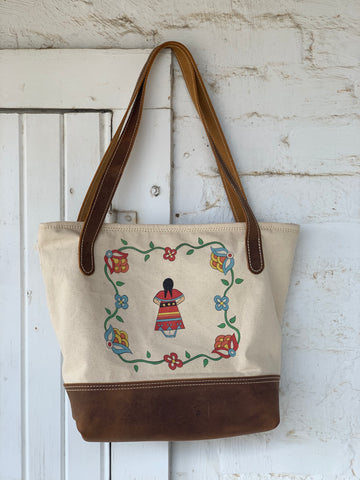 "Leather and Canvas ""Fighter"" Tote"