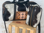 Black/white Hair-on Weekender Bag Set