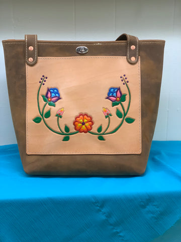 Tooled Leather Tote (Lily Pattern)
