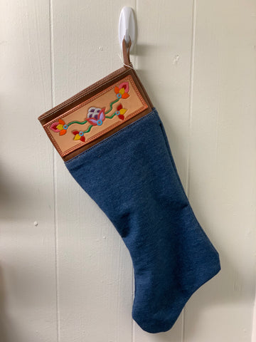 Copper Floral Christmas Stocking