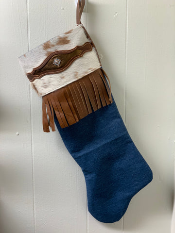 Hair-On Cowhide and Fringe Christmas Stocking