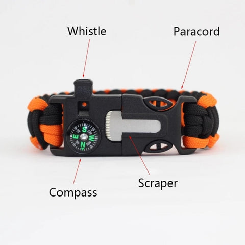 Image of 4 in 1 Braided Paracord Bracelet Multi-function Survival Rope