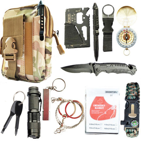 Image of 12 in 1 survival kit Set Outdoor Camping Travel Multifunction First aid