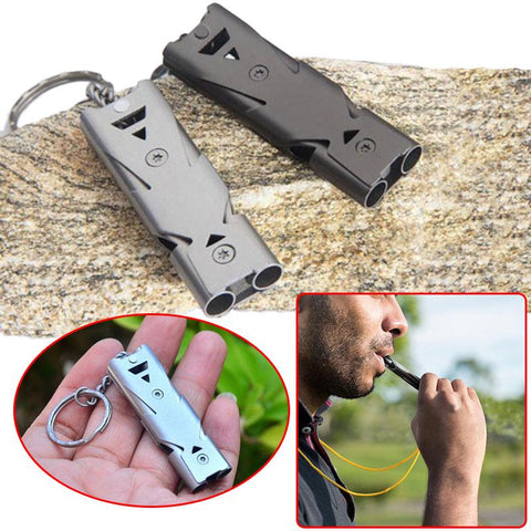 Image of Portable Aluminum Safety Whistle Double Lifesaving Emergency