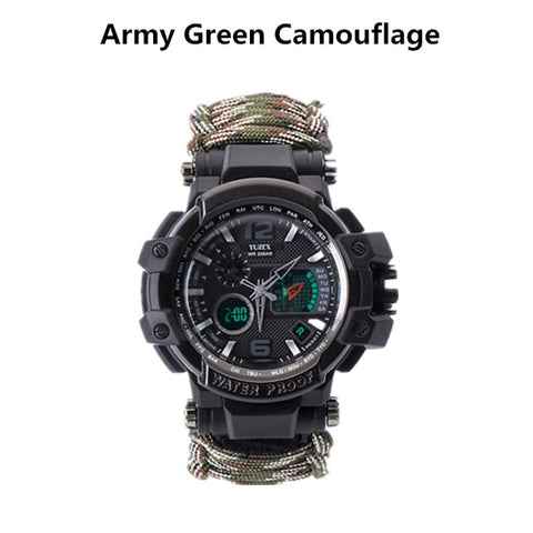Survival Watch Multi-functional Waterproof 50M Paracord Bracelet