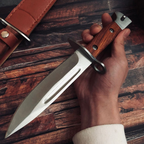 Image of Military Knive Fixed Blade AK47 Combat Wood Handle