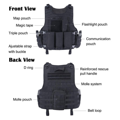 Airsoft Vest Tactical Plate Carrier Swat Fishing Hunting Army Armor Police