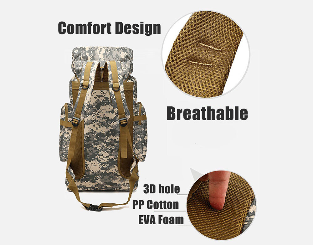 Large Capacity Army Luggage Tactical Camping Hiking Waterproof Rucksack Camouflage Backpack
