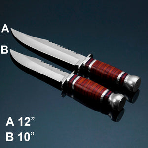 2 Types Serrated Tactical Hunting Fixed Blade Knife Survival