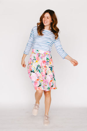 Pleated Skirt in Pink Bouquet