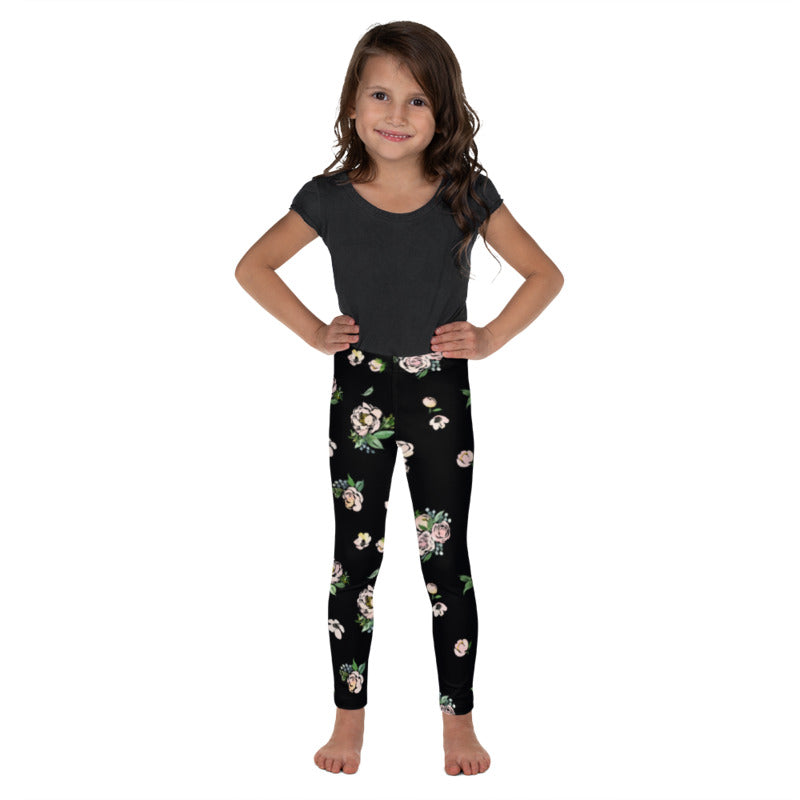 Black Floral Kids Leggings
