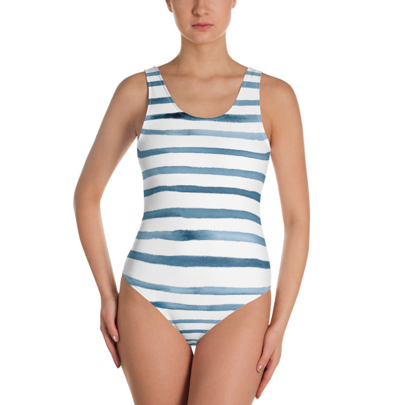 Navy Stripe One-Piece Swimsuit