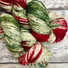 Load image into Gallery viewer, Poinsettia Sparkle DK, merino nylon yarn