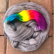 Load image into Gallery viewer, Grey Skies Rainbow, merino nylon blend sock yarn