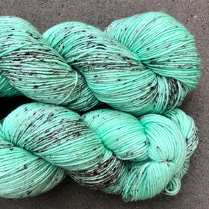 Mint Choc Chip Ice Cream, merino nylon sock yarn