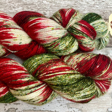 Load image into Gallery viewer, Poinsettia Sparkle, merino nylon sock yarn