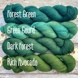 Rich Avocado, merino nylon sock yarn
