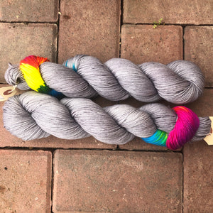 Grey Skies Rainbow, merino nylon blend sock yarn