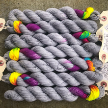 Load image into Gallery viewer, Grey Skies Rainbow 20g Miniskein, merino nylon blend sock yarn