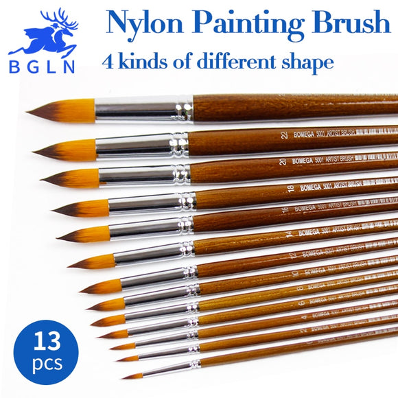 13 Piece set Nylon Hair Oil Paint Brush