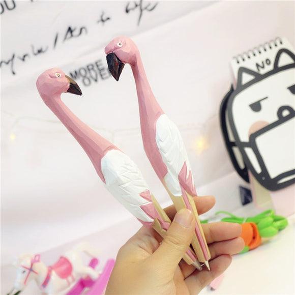 Pink Flamingo Gel Pen Wooden
