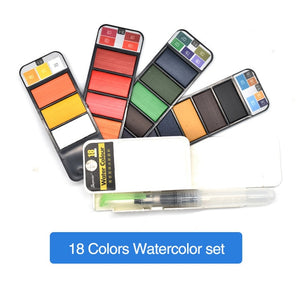 Solid Watercolour Paint Set With Water Brush Pen