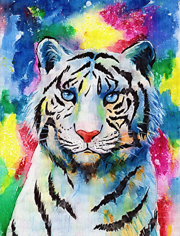 Full rainbow white tiger diamond painting