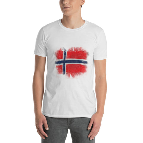 Distressed Norway Flag Short-Sleeve Unisex T-Shirt