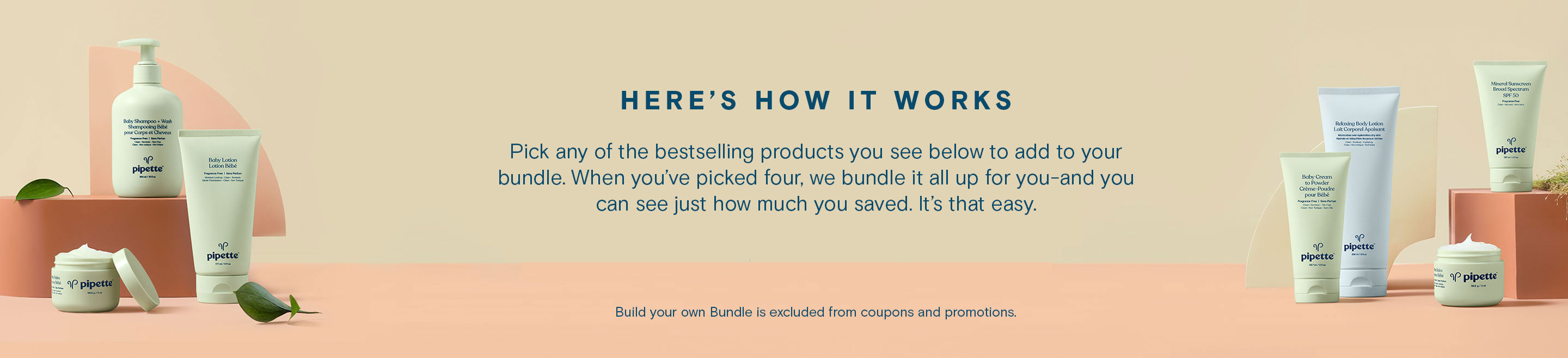 Instructions: Pick any of the bestselling products you see below to add to your bundle. When you've picked four, we bundle it all up for you—and you can see just how much you saved. It's that easy.
